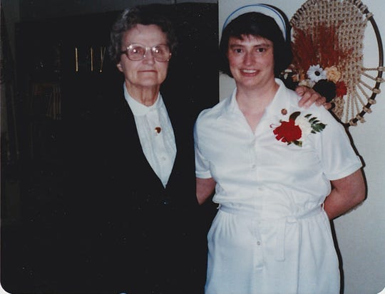 Louise Jetzer and her mother at  Louise's nursing graduation