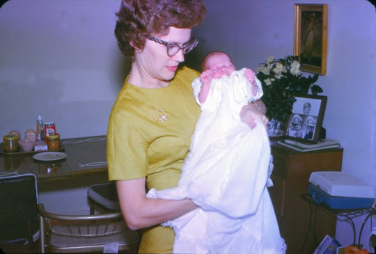 Sandy Gadsby and her mother on the day of her baptism