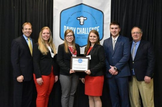 UW–Madison dairy science students earned second place honors at the National North American Intercollegiate Dairy Challenge Contest in March 2019. Team members and coaches included (left to right): Ted Halbach, coach; Danielle Warmka; Rachel Gerbitz; Riley Miller; Zach Lensmire; and David Combs, coach.