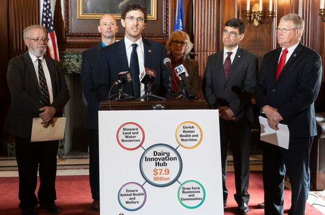 Representative Travis Tranel spoke about the benefits the Dairy Innovation Hub could provide for the state's dairy industry during a press conference in Madison on May 1.
