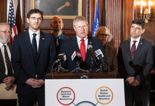Sen. Howard Marklein (center) announces Senate Bill 186 on May 1, to establish a Dairy Innovation Hub at UW-Madison, UW-Platteville and UW-River Falls.