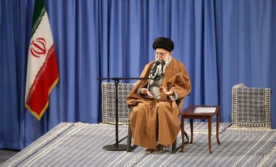 Iranian supreme leader Ayatollah Ali Khamenei at a meeting with Iranian workers in Tehran on April 24, 2019.