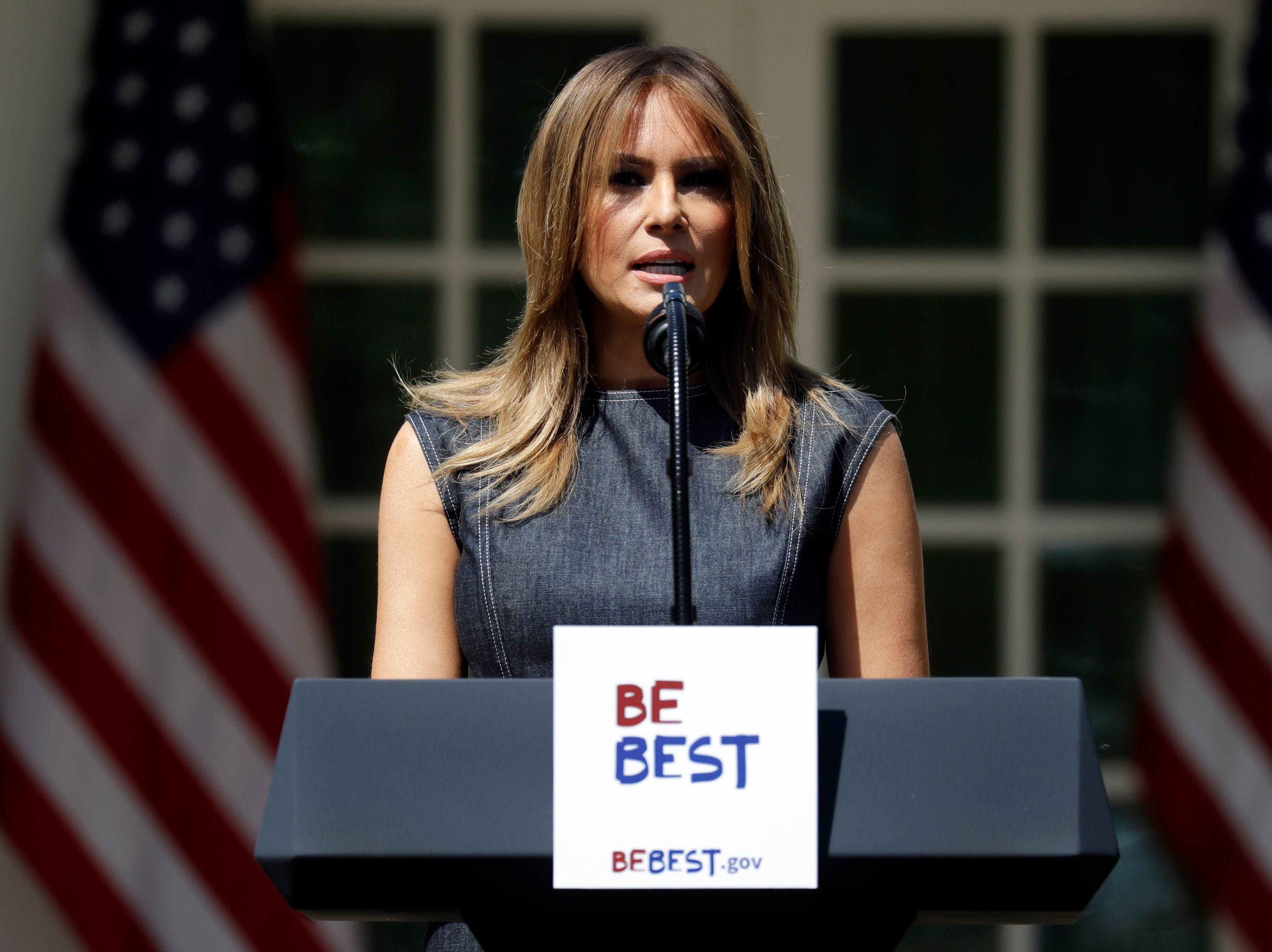 First lady Melania Trump speaks at the opening of a program for the first lady's Be Best initiative in the Rose Garden of the White House, Tuesday, May 7, 2019, in Washington.