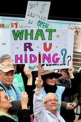 Sue Steel of Nyack, N.Y. at a Tax March in New York City on April 15, 2017.