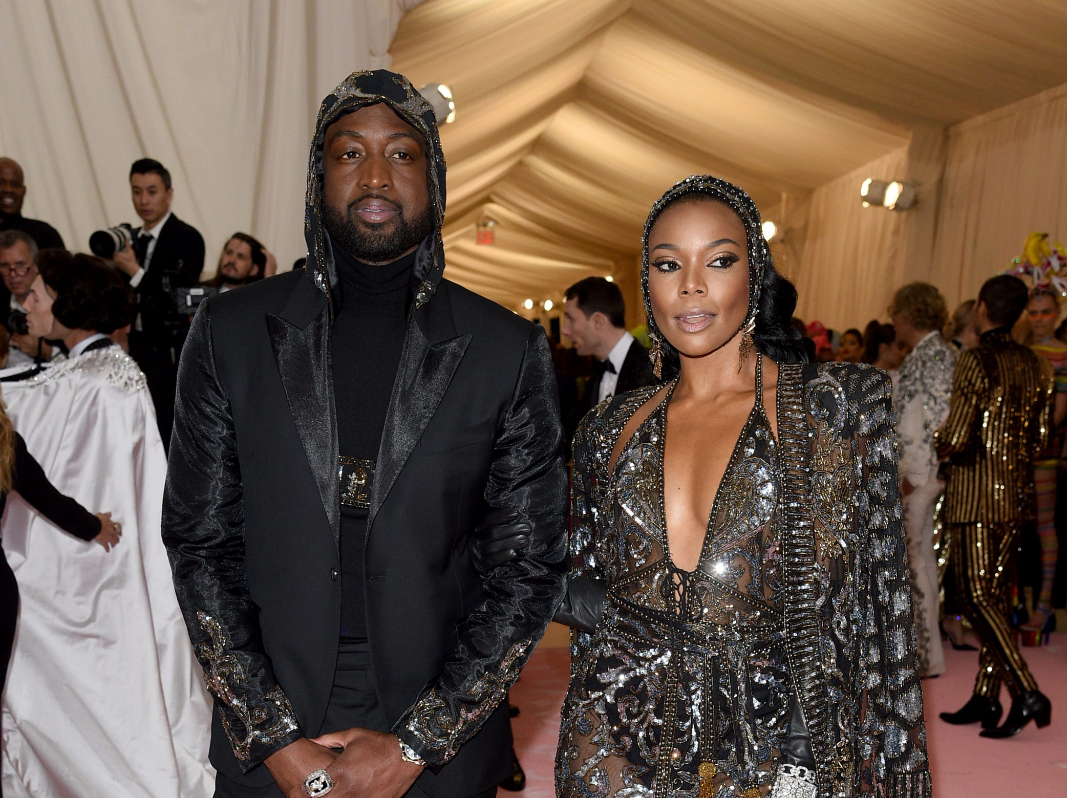 """Dwyane Wade and Gabrielle Union attend The Metropolitan Museum of Art's Costume Institute benefit gala celebrating the opening of the """"Camp: Notes on Fashion"""" exhibition on Monday, May 6, 2019, in New York."""