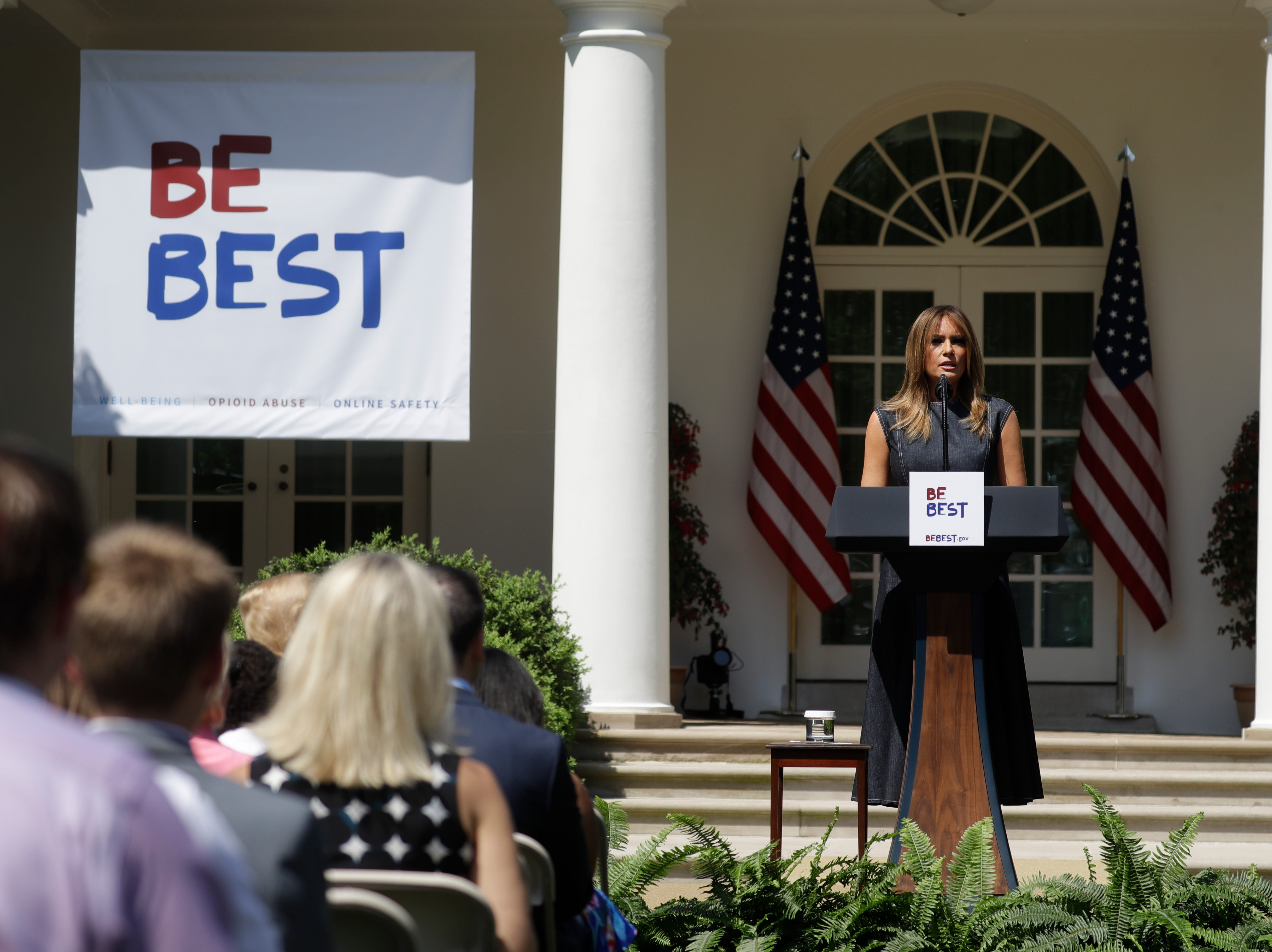 First lady Melania Trump speaks at the beginning of a program for the first lady's Be Best initiative in the Rose Garden of the White House, Tuesday, May 7, 2019, in Washington.