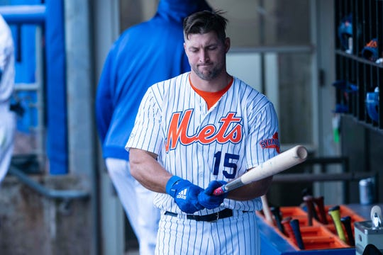 Tim Tebow during a game in Syracuse on April 25.