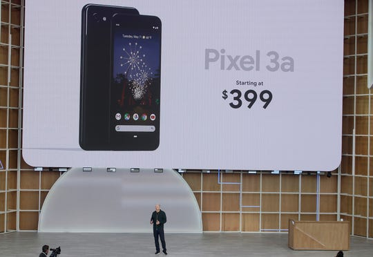 Google's Rick Osterloh speaks about the Pixel 3a phone during the keynote address of the Google I/O conference in Mountain View, Calif., Tuesday, May 7, 2019.
