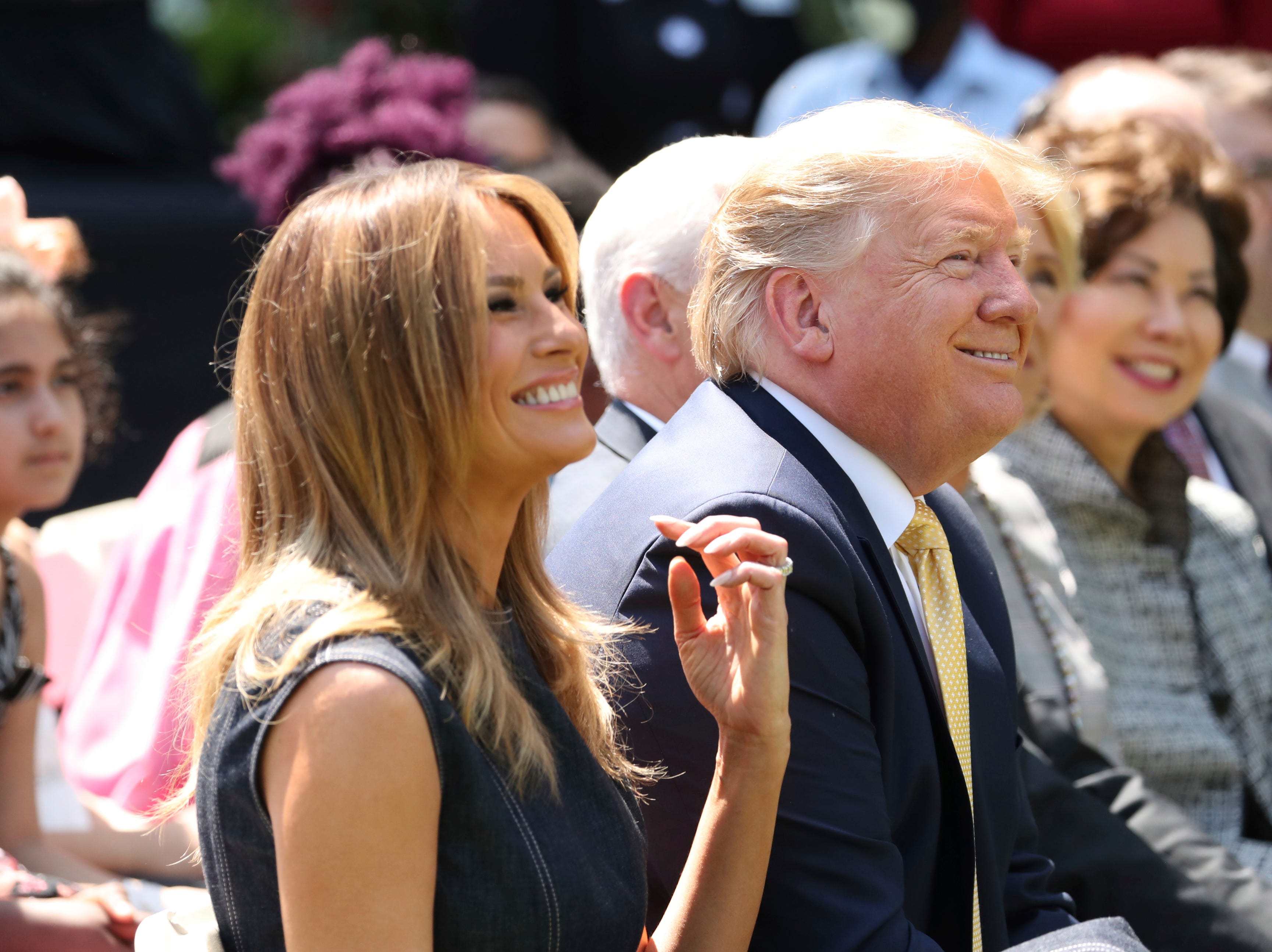 President Donald Trump and first lady Melania Trump attend a program for the first lady's Be Best initiative in the Rose Garden of the White House, Tuesday, May 7, 2019, in Washington.