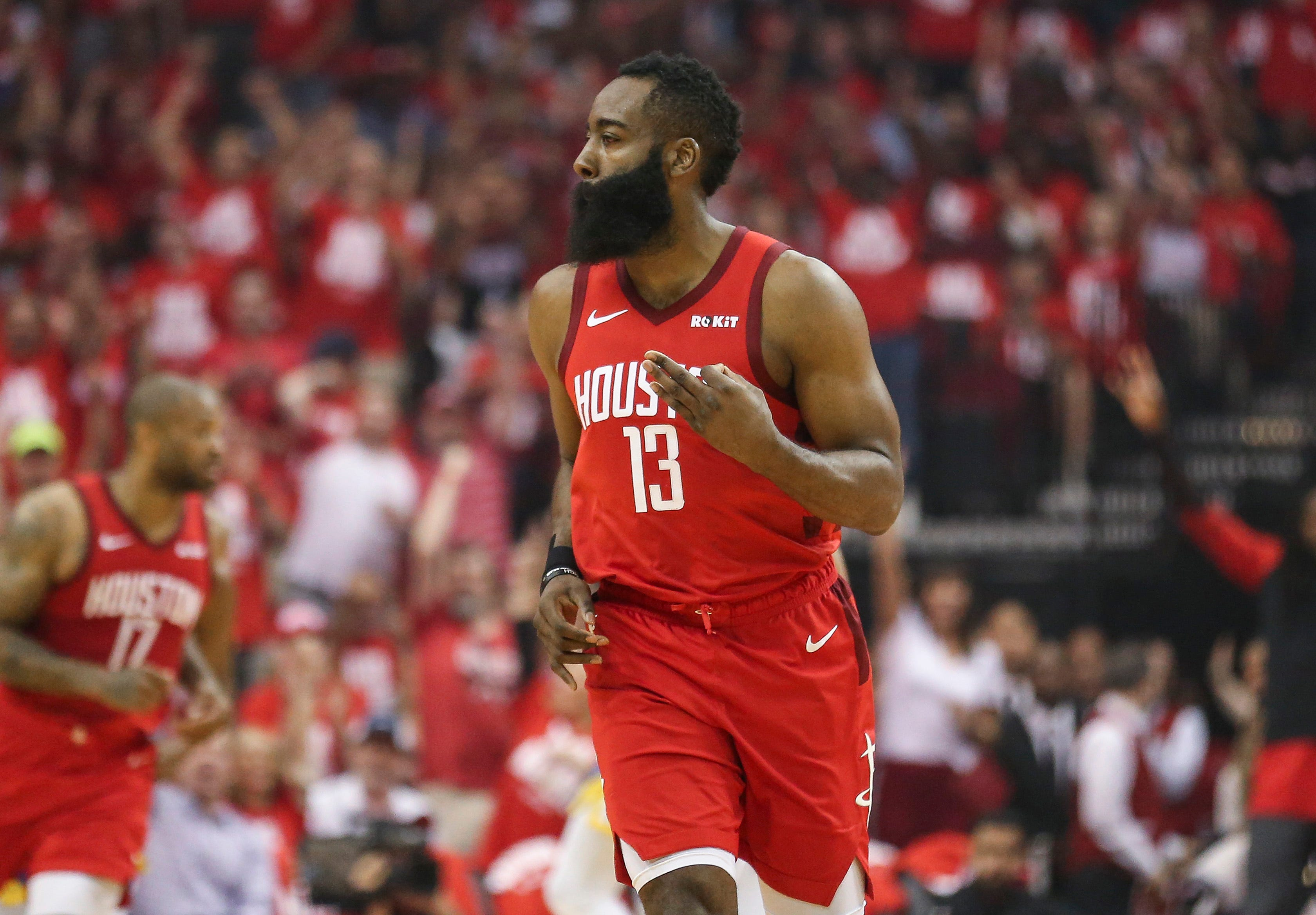 6f043024bac9 James Harden and his  lucky charm  have Rockets poised to make noise in  Oakland in Game 5