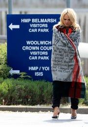 Pamela Anderson leaves London's Belmarsh Prison after visiting Julian Assange Tuesday May 7, 2019.