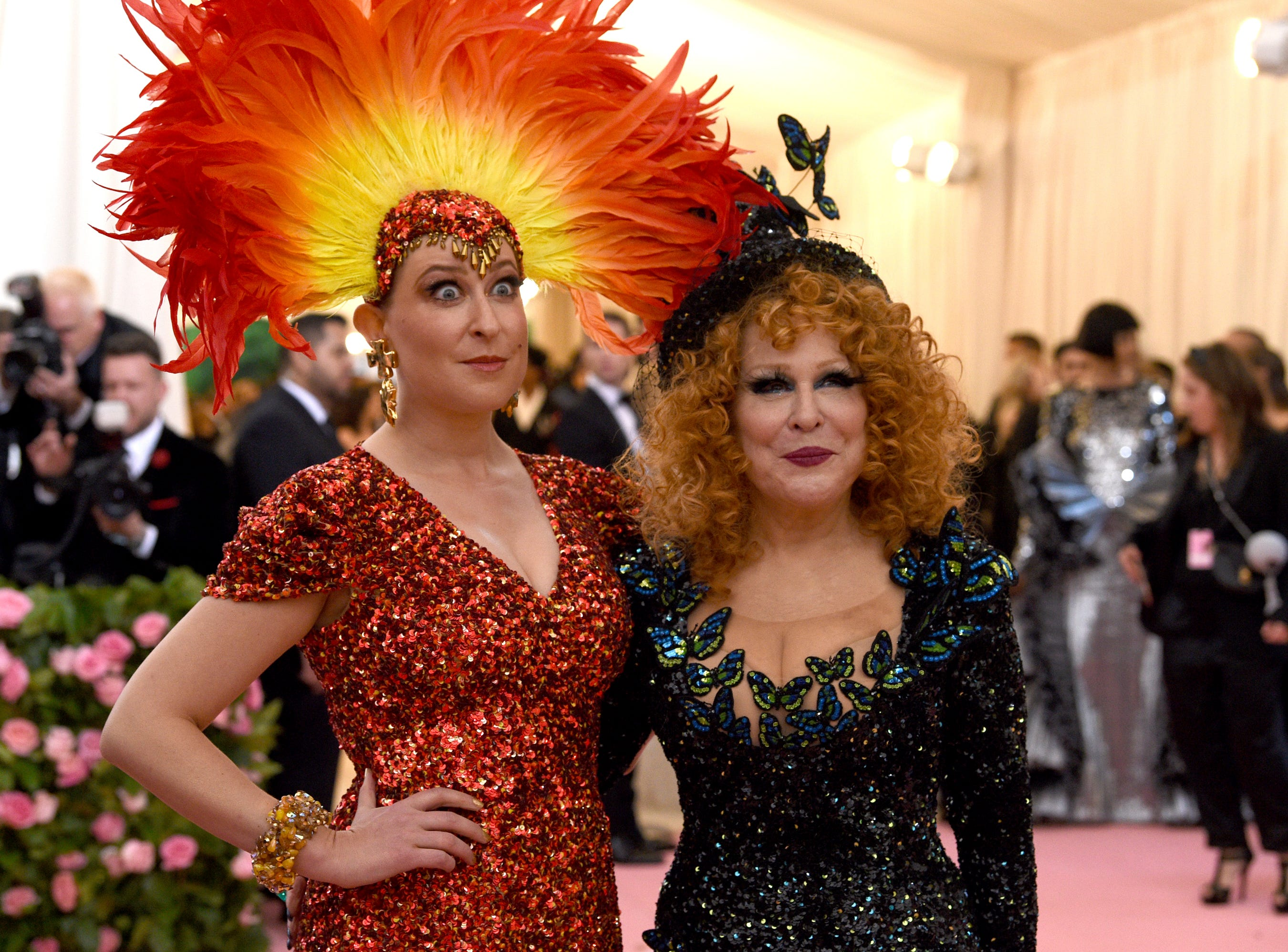 """Bette Midler, right, and her daughter Sophie Von Haselberg attend The Metropolitan Museum of Art's Costume Institute benefit gala celebrating the opening of the """"Camp: Notes on Fashion"""" exhibition on Monday, May 6, 2019, in New York. (Photo by Evan Agostini/Invision/AP) ORG XMIT: NYKV265"""