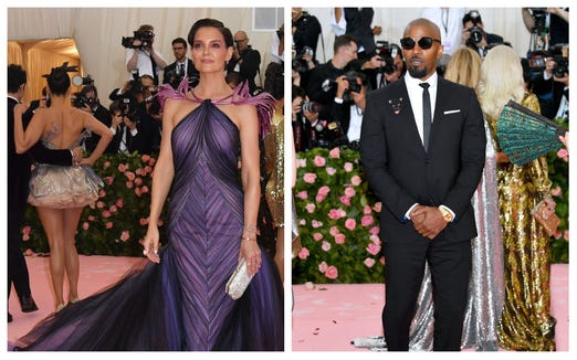Katie Holmes and Jamie Foxx posed separately outside the Met Gala, but some fans think shots of the two together inside confirm their relationship.