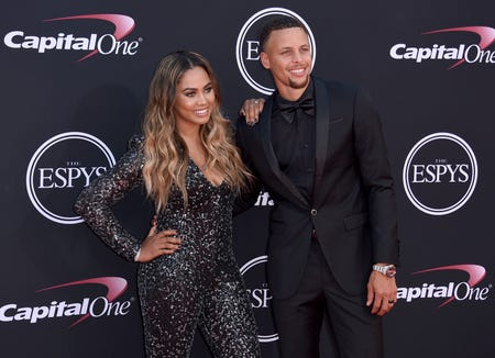Stephen and Ayesha Curry arrive at the ESPY Awards on July 12, 2017, in Los Angeles.