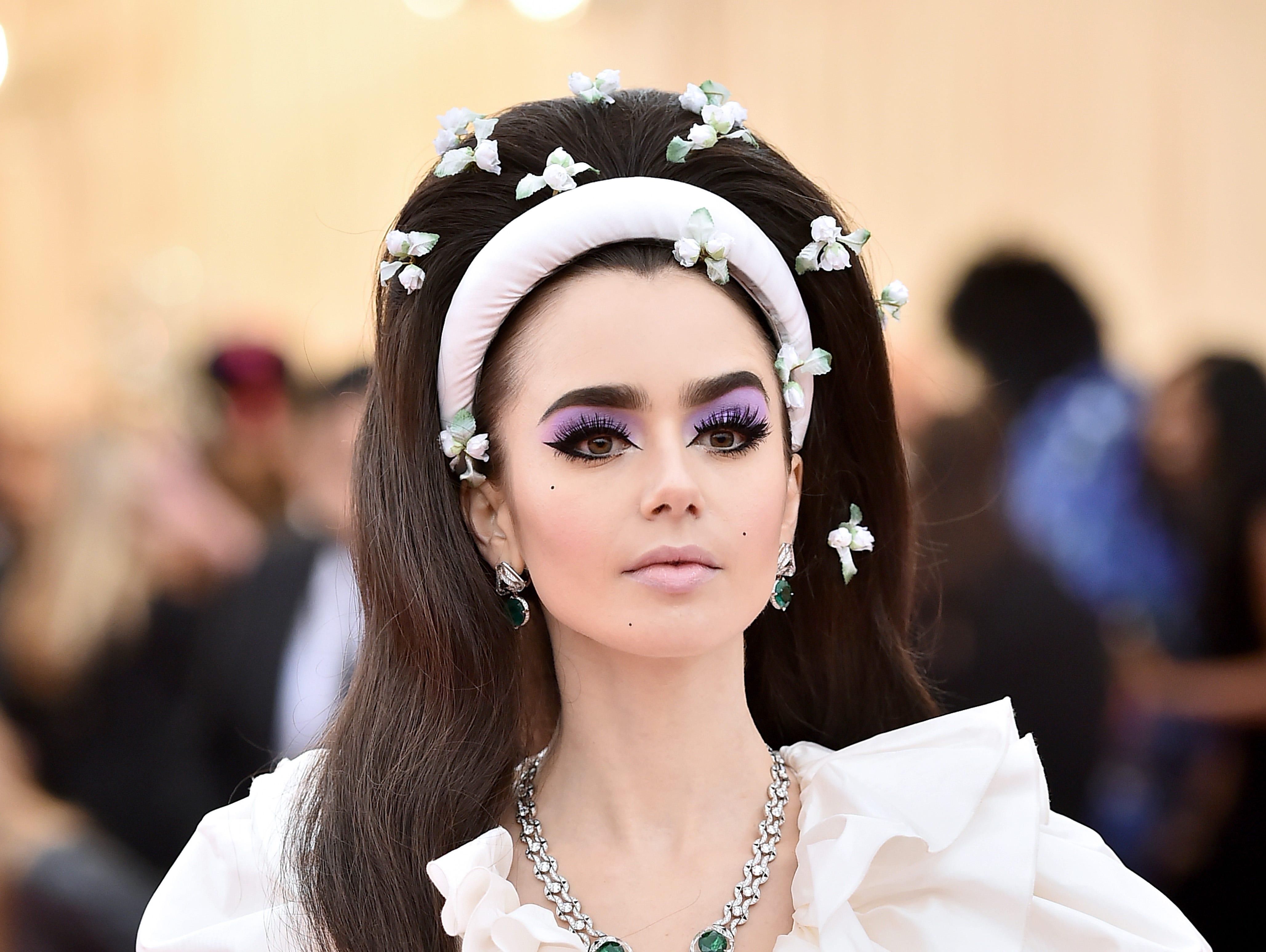 NEW YORK, NEW YORK - MAY 06: Lily Collins attends The 2019 Met Gala Celebrating Camp: Notes on Fashion at Metropolitan Museum of Art on May 06, 2019 in New York City. (Photo by Theo Wargo/WireImage) ORG XMIT: 775333959 ORIG FILE ID: 1147433720