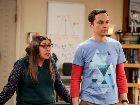 Amy (Mayim Bialik), left, and Sheldon (Jim Parsons) are a married couple under consideration for a Nobel Prize in CBS's 'The Big Bang Theory.'