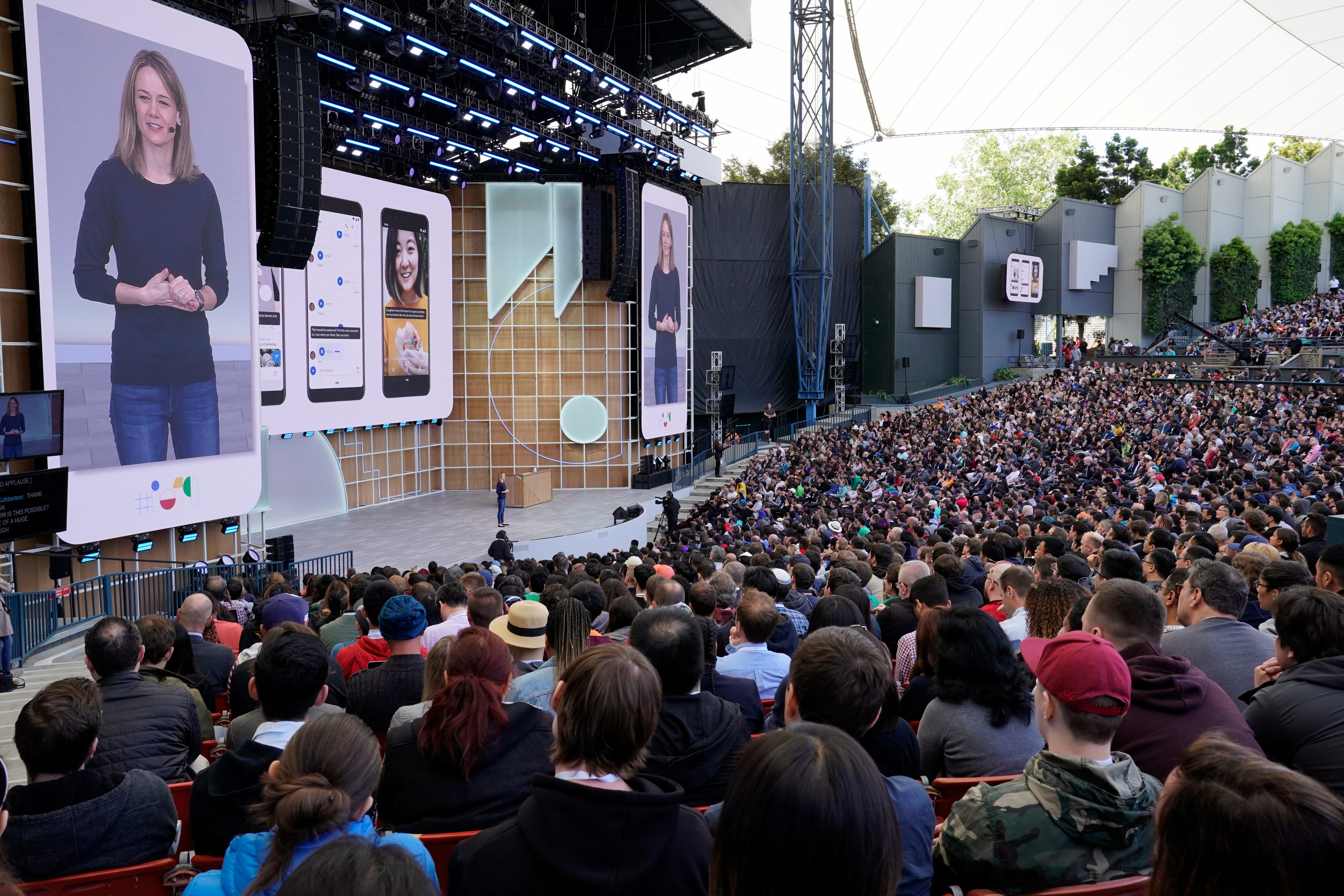 Google's Android product manager Stephanie Cuthbertson demos upcoming enhancements to Android during the keynote at Google I/O at the Shoreline Amphitheatre in Mountain View, Calif. on May 7, 2019.