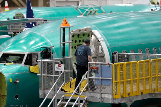 This March 27, 2019, file photo shows a Boeing 737 MAX 8 airplane on the assembly line during a brief media tour of Boeing's 737 assembly facility in Renton, Wash.