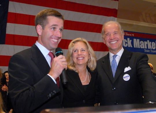 Beau Biden with his parents, Jill and Joe Biden, in Wilmington, Del. on Nov. 7, 2006.