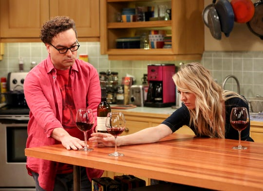 Spouses Leonard (Johnny Galecki) and Penny (Kaley Cuoco) always feel extra stress when Leonard's mother visits on CBS's 'The Big Bang Theory.'