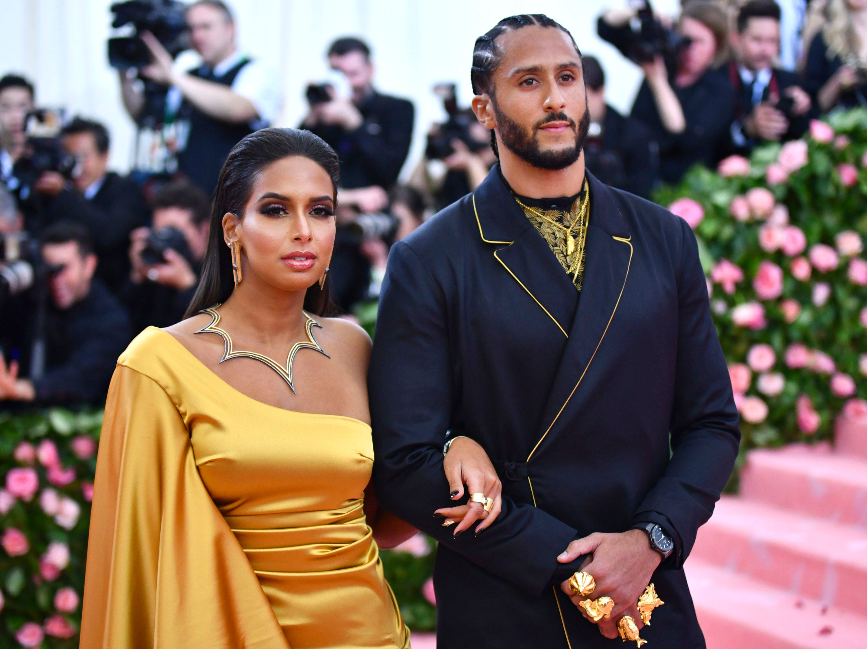 """Nessa, left, and Colin Kaepernick attend The Metropolitan Museum of Art's Costume Institute benefit gala celebrating the opening of the """"Camp: Notes on Fashion"""" exhibition on Monday, May 6, 2019, in New York. (Photo by Charles Sykes/Invision/AP) ORG XMIT: NYJW323"""