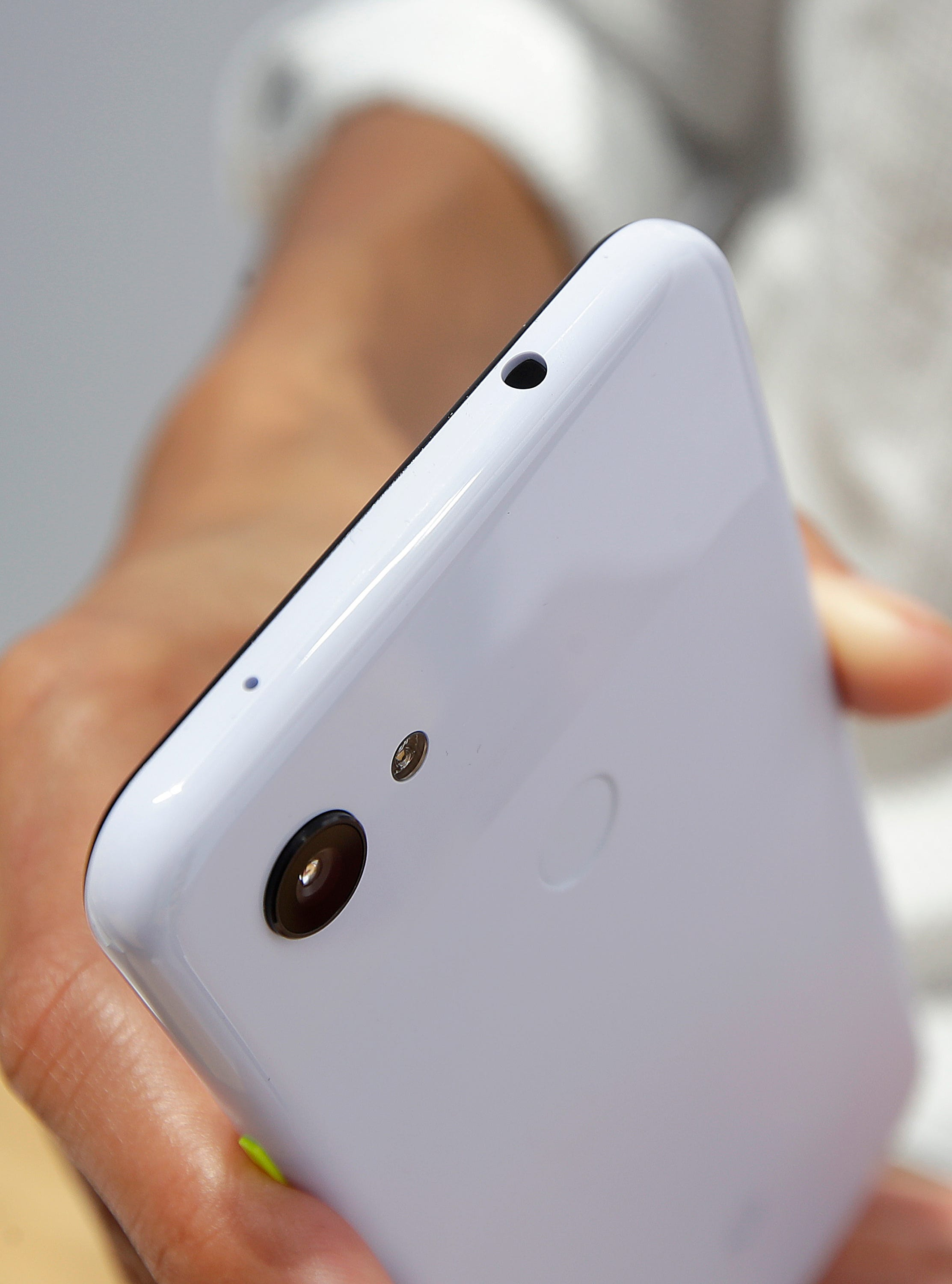 The audio jack is shown on a Google Pixel 3a XL phone at the Google I/O conference in Mountain View, Calif., Tuesday, May 7, 2019.