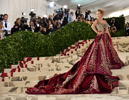 "Blake Lively went all out last year for the theme ""Heavenly Bodies: Fashion and the Catholic Imagination."""