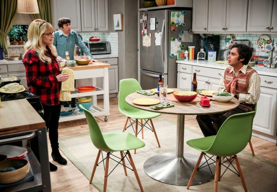 Bernadette (Melissa Rauch), left, her husband, Howard (Simon Wolowitz), and his best friend, Raj  (Kunal Nayyar) chat during 'The Maternal Conclusion,' Thursday's episode of 'The Big Bang Theory.'