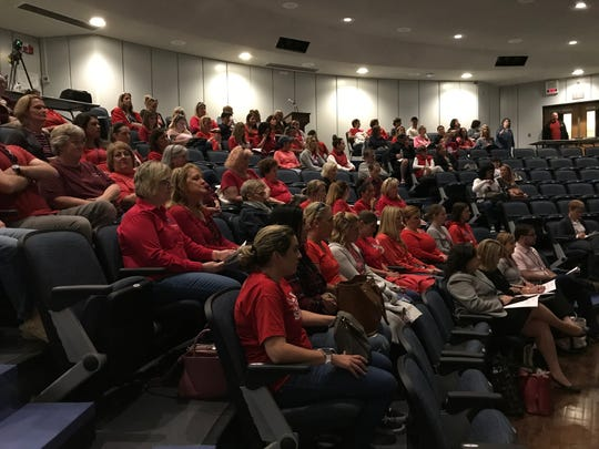 More than 100 teachers and residents came to Wall Intermediate School to listen to discussion on the renewal of Superintendent Cheryl Dyer's contract.