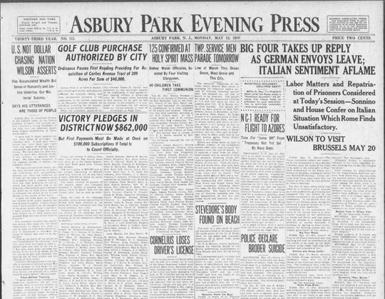 May 12, 1919 front page story