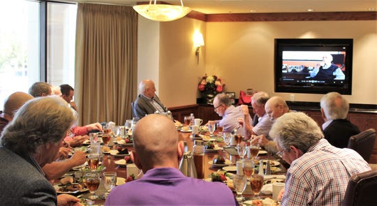"""The Abilene """"boys of summer"""" enjoyed lunch and former Brooklyn Dodgers pitcher Carl Erskine (on screen, recorded in Anderson, Indiana) talk about the """"golden era"""" of baseball recently at Abilene Christian University."""