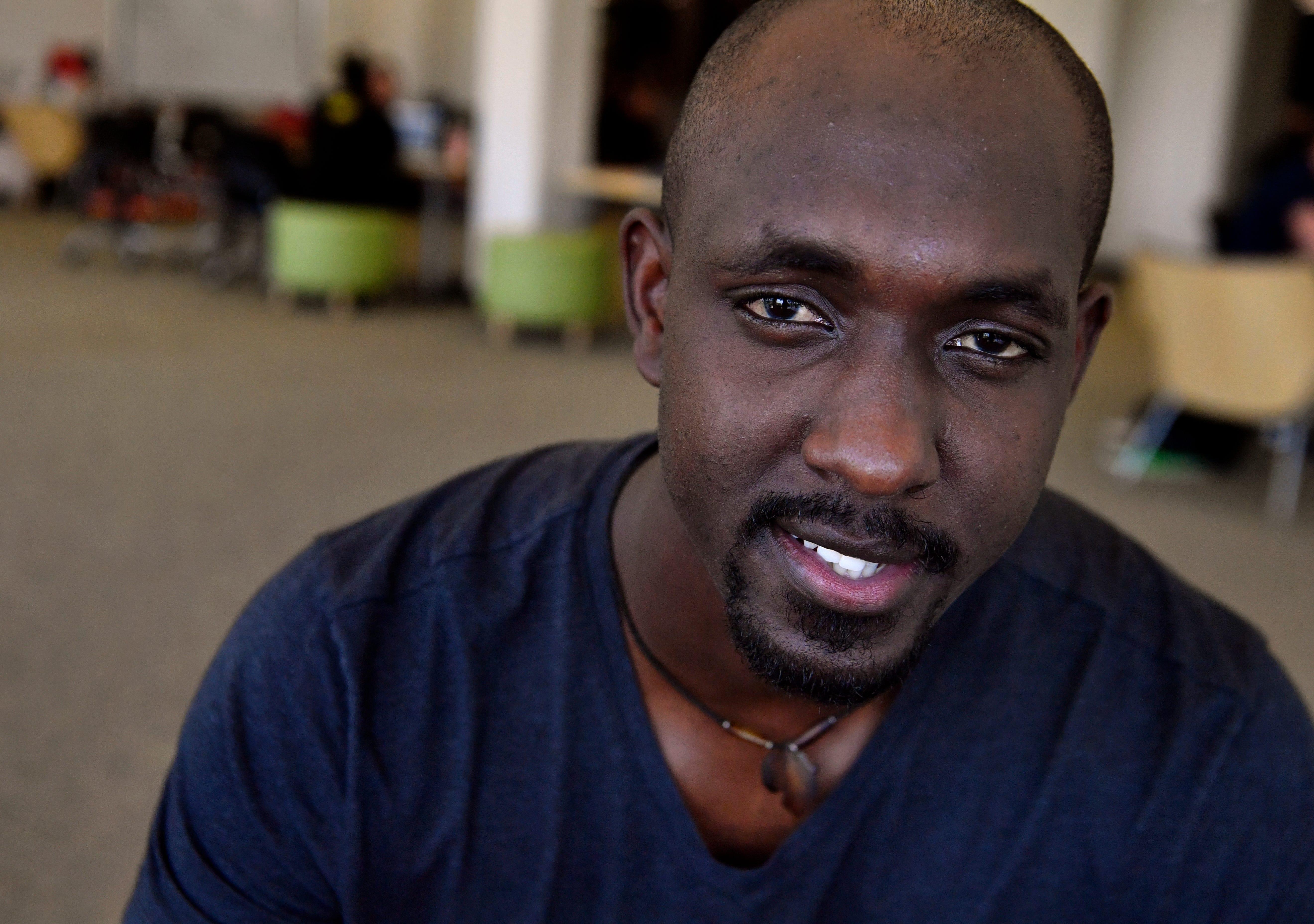 Olivier Iryamukuru on the Abilene Christian University campus.