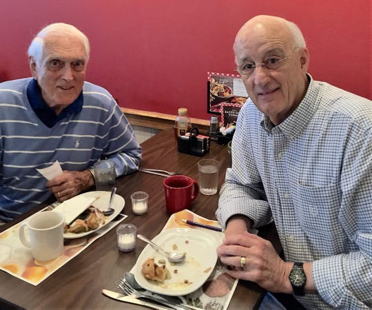 Carl Erskine, left, and Gary McCalbe first met over breakfast in Anderson, Indiana. By the looks of it, Erskine is buying.