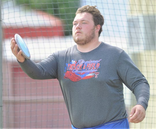 Cooper junior McCord Whitaker gets ready to throw the discus during practice Tuesday at Cooper High School. Whitaker will compete at the Class 5A state track and field meet in the discus at 6 p.m. Friday in Austin. It's his second consecutive trip to state in the event.