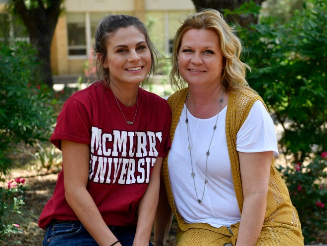 Kaylee Pitcher with her mother Darla Sterling at McMurry University.