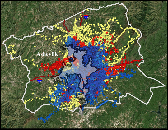 This GPS map color coded to show the locations of collared black bears between 2014 and 2018, has about 1 million sites.