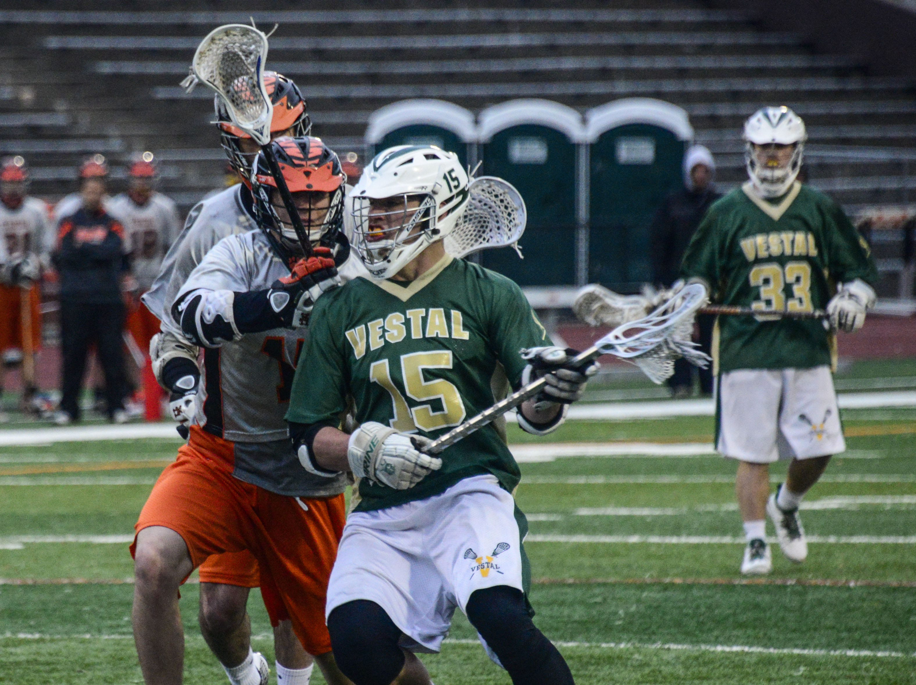 2014: Vestal's Pat Carlin moves against a defender from Union-Endicott on Wednesday at U-E. Carlin is one of two Section 4 players going to Syracuse next year.