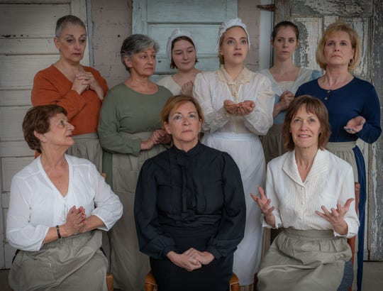 """As It Is In Heaven runs two more weekends at the Black Mountain Center for the Arts. The cast includes (top row) Janice Vertucci Schreiber, Joyce Bagley-Menges, Olivia Brown, Amanda Klinikowski, Paige Borden, Karen Covington-Yow, (bottom row) RoseLynn Katz, Madison Brightwell, Mary Ann Heinen, and with Sara Jobes (not shown) serving as understudy."""