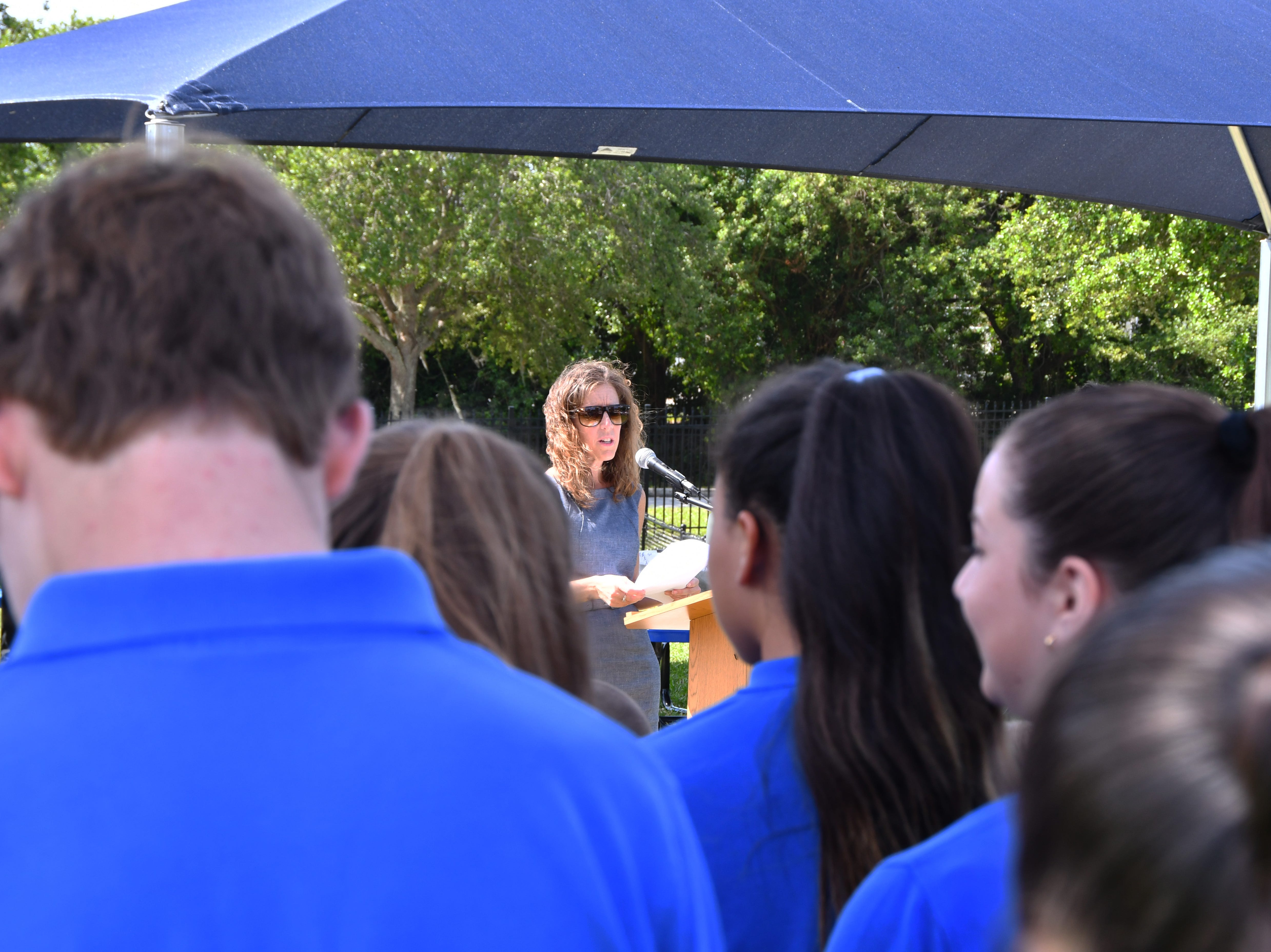 Diane Braswell was diagnosed with skin cancer, the diagnosis motivated her to begin the shade project for the students. St. Mary Catholic School in Rockledge hosted a dedication ceremony for its newly constructed shade structures Wednesday morning made possible by a grant from the American Academy of Dermatology's Adopt-A-Shade program. Board-certified dermatologist, Francille MacFarland, MD, FAAD, provided a generous donation to the AAD, which completed the funding necessary to build the structure over the school's primary playground and picnic area. The shade will help protect more than 250 children and teachers daily from the sun's harmful ultraviolet rays. Other parishioners, families, doctors and school fund raisers helped cover the cost.