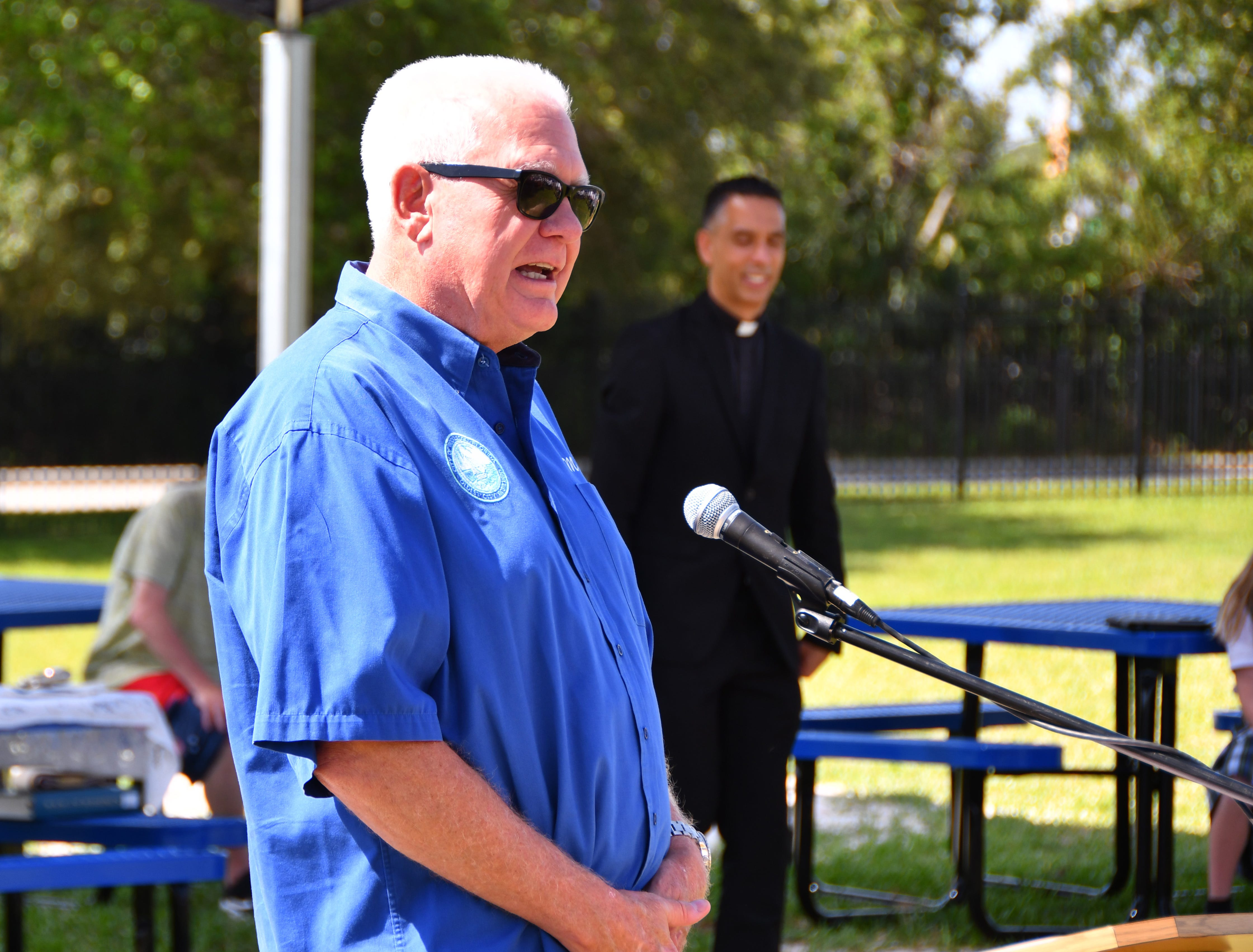 Rocklege Mayor Tom Price spoke to the group. St. Mary Catholic School in Rockledge hosted a dedication ceremony for its newly constructed shade structures Wednesday morning made possible by a grant from the American Academy of Dermatology's Adopt-A-Shade program. Board-certified dermatologist, Francille MacFarland, MD, FAAD, provided a generous donation to the AAD, which completed the funding necessary to build the structure over the school's primary playground and picnic area. The shade will help protect more than 250 children and teachers daily from the sun's harmful ultraviolet rays. Other parishioners, families, doctors and school fund raisers helped cover the cost.