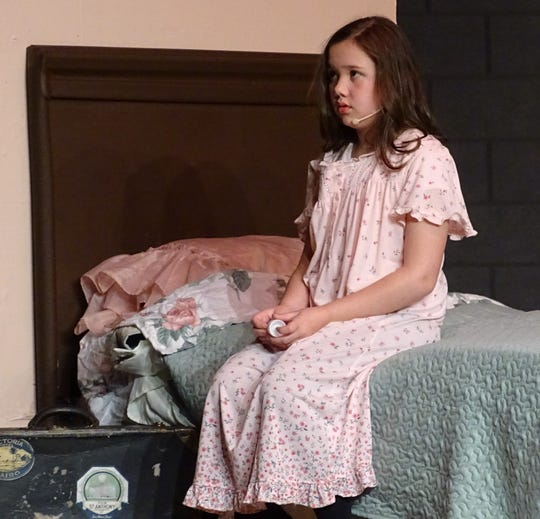 """Sophia Schag, as Mary, rehearses a scene from the Bucyrus Community Theatre production of """"The Secret Garden"""" on Monday."""