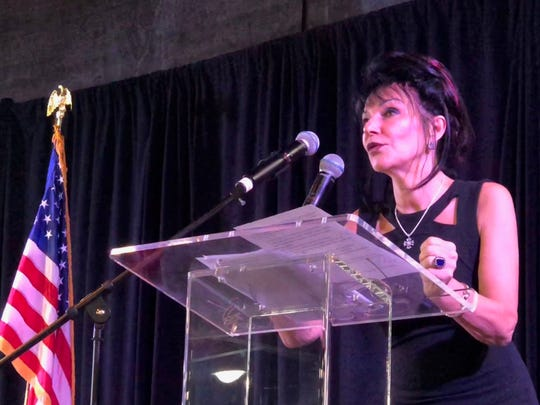 Judge Rosemarie Aquilina, who presided over the Larry Nassar case, speaks at the Law Day luncheon in Corpus Christi on May 8, 2019.