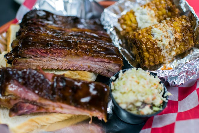 Ribs, street corn and coleslaw from Sugarpuddin's in Lindenwold Wednesday, May 8, 2019.