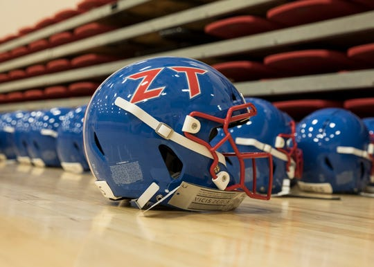 Gabe Shanton's football helmet has been decorated with the Zane Trace's signature décor as others are fitted for the new helmets for the 2019 football season before they can be decorated.