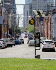 View looking south down Walnut Street, where The Brewing Heritage Trail offers people the opportunity to explore Cincinnati through an urban walking trail.
