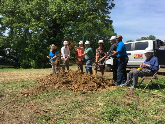 Loaves & Fishes held a groundbreaking for its new facility on Crossland Avenue on Wednesday, May 8, 2019. Pictured from left are Tamara Long, First Presbyterian Pastor Greg Glover, Kris Foust, Rick Catignani, Bessie Costanza, Immaculate Conception Catholic Church's the Rev. Steve Wolf, Isaac Wright and Don Beck.