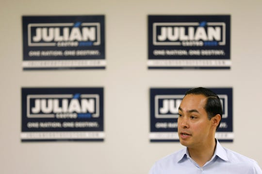 Democratic presidential candidate former U.S. Secretary of Housing and Urban Development Julian Castro speaks during a meeting with Iowa State University students and Story County democrats, Tuesday, May 7, 2019, in Ames, Iowa. (AP Photo/Charlie Neibergall)