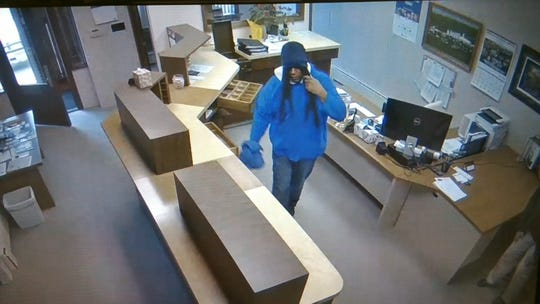 A man suspected of robbing the Vincent City Hall on Tuesday, May 8, 2019 is seen in a still photo of surveillance footage.