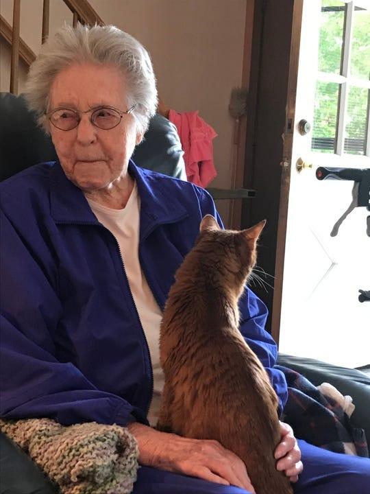 Trailblazer Ione Shadduck at 95, with her cat, Sunni.