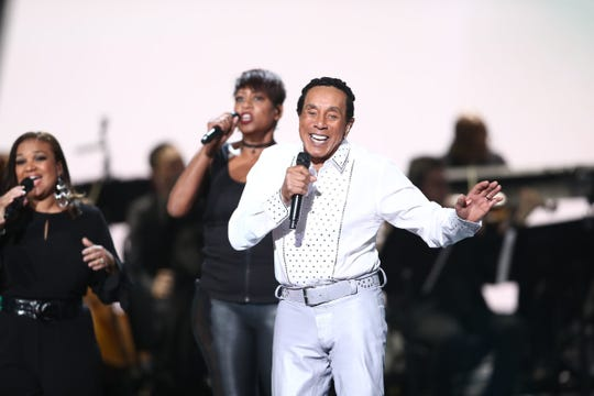 "Smokey Robinson performs at ""Motown 60: A Grammy Celebration"" at Microsoft Theater on Feb. 12, 2019, in Los Angeles."